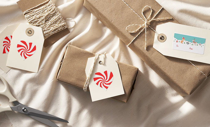 Create custom stickers to dress up Christmas presents!