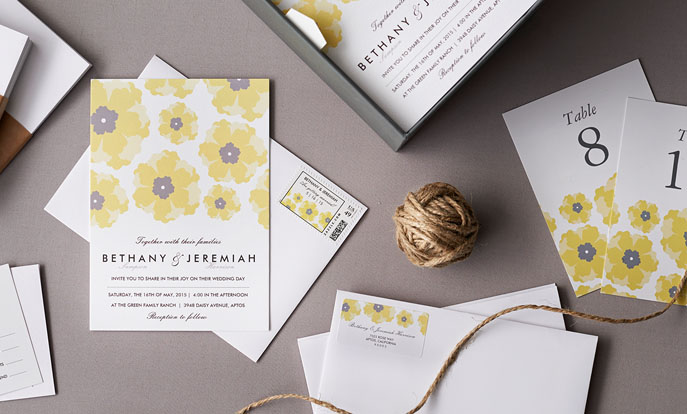 Browse the Wedding Invitations Collection and personalise by colour, design or style.